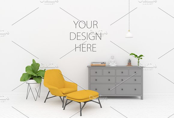 Blank Wall Mockup Interior Mock Up