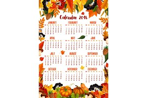Autumn nature vector 2018 calendar template