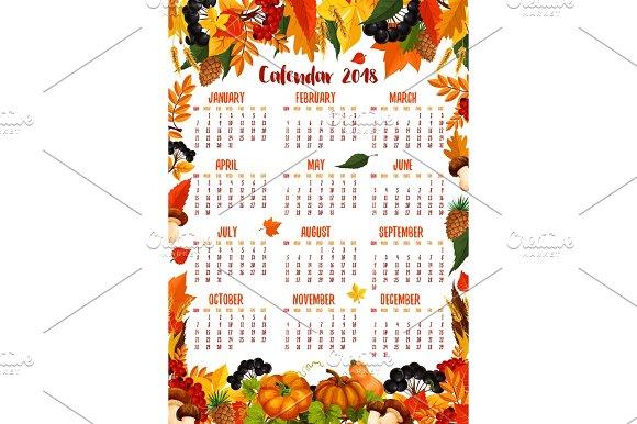 Autumn Nature Vector 2018 Calendar Template
