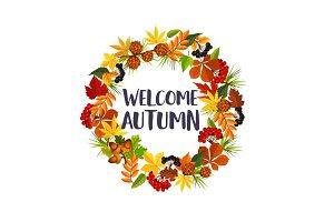 Autumn leaf and rowan berry wreath vector poster