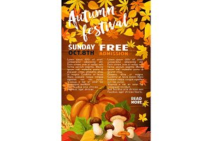 Autumn harvest festival banner of fall season