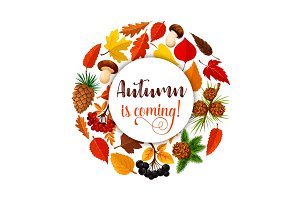 Autumn leaf poster for fall nature season design