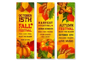 Autumn harvest festival banner with pumpkin, leaf