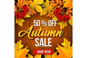 Autumn sale poster of fall season discount price