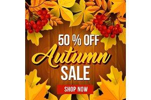 Autumn sale poster of fall season discount price