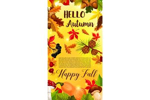 Autumn falling leaf September forest vector banner