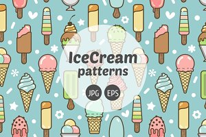 Colorful ice cream seamless pattern