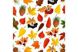 Seamless autumn pattern background of fall nature