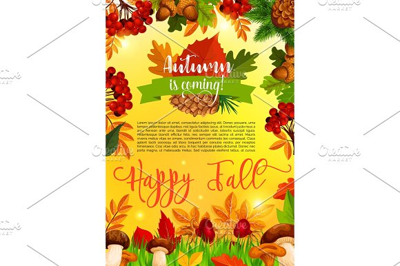 Autumn And Fall Season Banner Template With Leaf