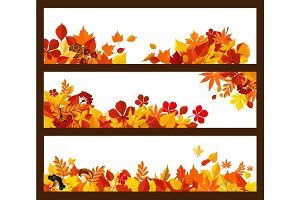 Autumn leaf, mushroom and berry banner border