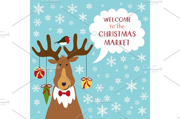 Cute Retro Banner With Funny Cartoon Character Of Deer With Speech Bubble And Quote Welcome To The Christmas Market