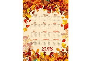 Calendar 2018 template with autumn season leaf