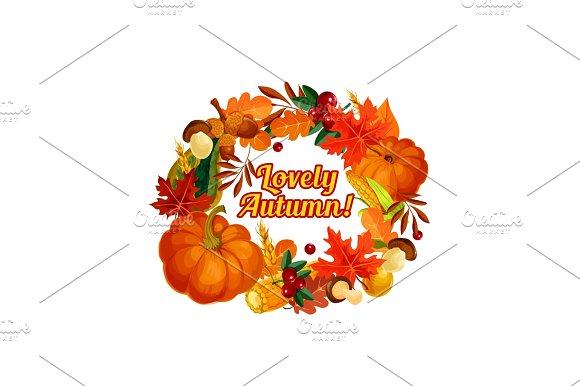 Autumn Harvest Vector Pumpkin Corn Leaf Poster