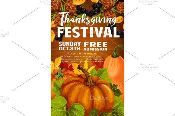Thanksgiving Day And Autumn Festival Poster Design
