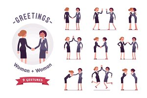 Businesswomen greeting character set, various poses and emotions