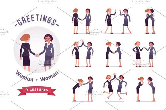 Businesswomen Greeting Character Set Various Poses And Emotions