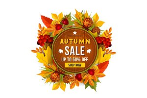 Autumn sale discount vector poster of leaf