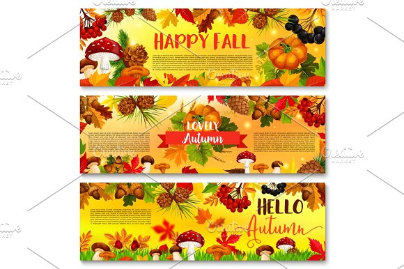 Autumn Falling Leaf September Season Vector Banner
