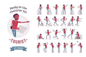Black male tourist character set, various poses and emotions