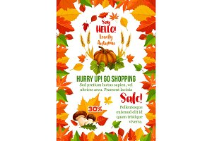 Autumn sale poster with fall season leaf frame