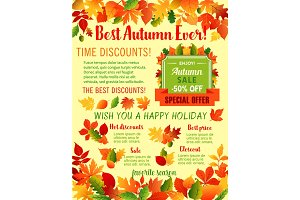 Autumn fall maple leaf acorn vector sale poster