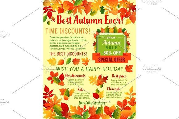 Autumn Fall Maple Leaf Acorn Vector Sale Poster