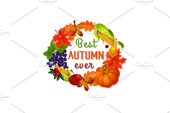 Autumn Leaf Harvest Vegetable And Fruit Poster