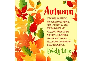 Autumn leaf fall vector greeting poster
