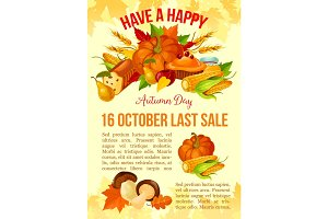 Thanksgiving Day banner of autumn sale template