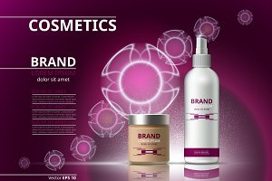 Vector pink cosmetic package mockup