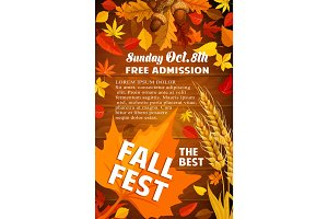 Fall harvest festival banner with autumn leaf