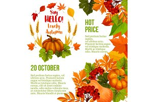 Autumn season sale poster template with fall leaf