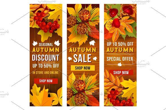 Autumn Sale And Discount Price Banner Template Set