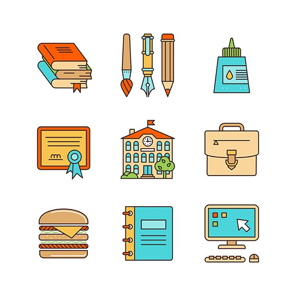 Lineart School Education Icon Set