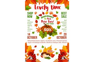 Sale banner with autumn leaf, fall season pumpkin