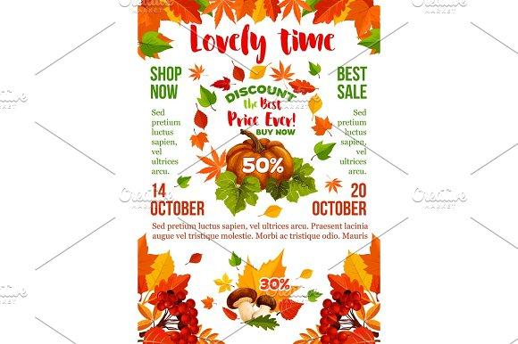 Sale Banner With Autumn Leaf Fall Season Pumpkin