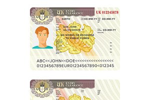 UK visa passport sticker template