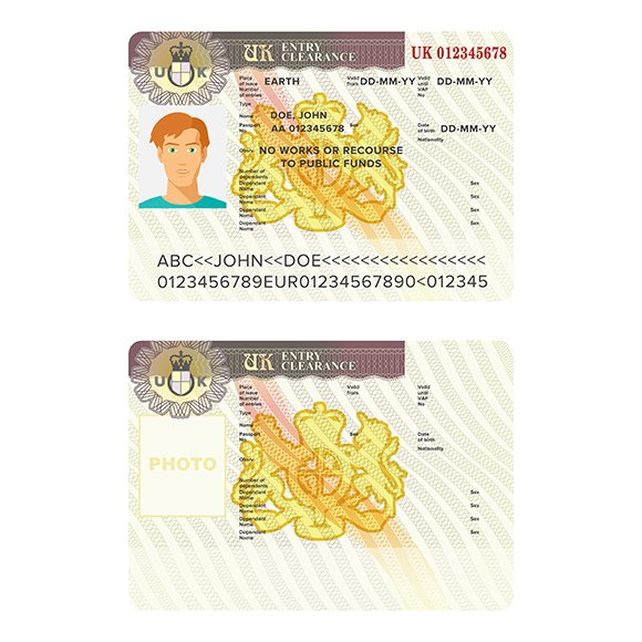 UK Visa Passport Sticker Template