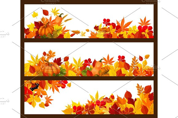 Autumn Fall Leaves Vector Banners Set