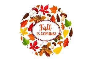 Autumn or leaf fall vector seasonal poster
