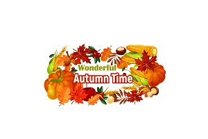 Autumn harvest poster of vector pumpkin, corn leaf