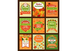 Autumn season sale retro banner and tag set design