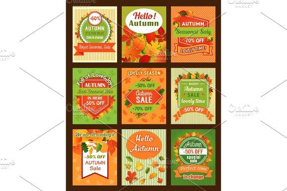 Autumn Season Sale Retro Banner And Tag Set Design