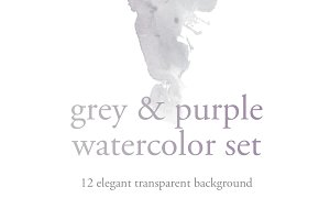 grey & purple watercolor set
