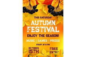 Fall festival of autumn harvest poster template