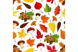 Autumn leaf, mushroom seamless pattern background