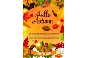 Hello autumn poster template of fall season leaf