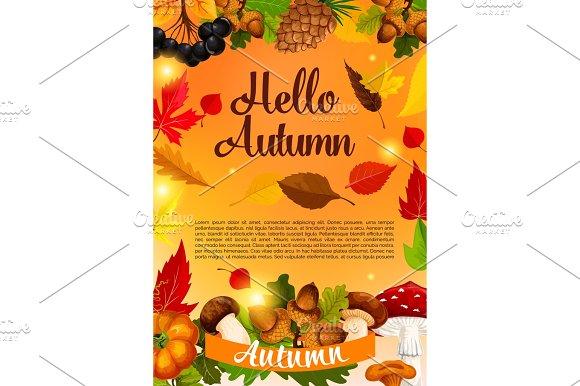 Hello Autumn Poster Template Of Fall Season Leaf