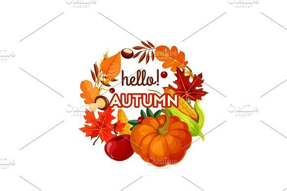 Autumn Harvest Vegetable Fruit And Leaf Poster