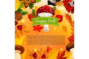 Autumn Happy fall mushroom and leaf vector poster